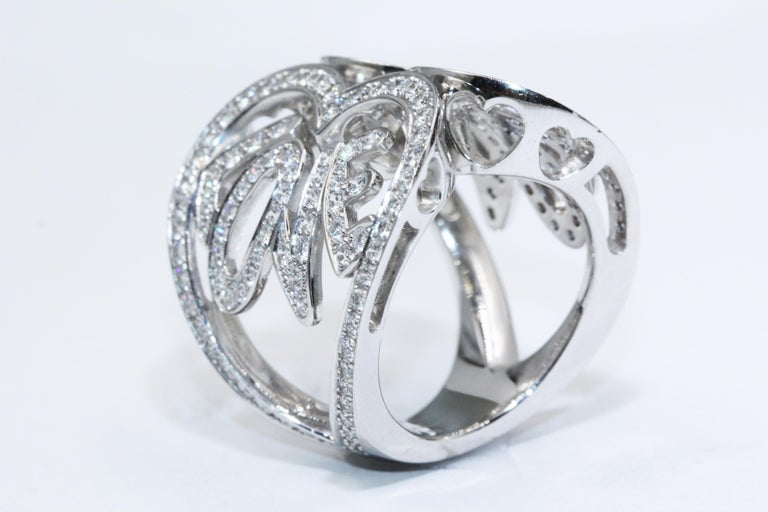Chopard White Gold Diamonds Heart Ring For Sale 1