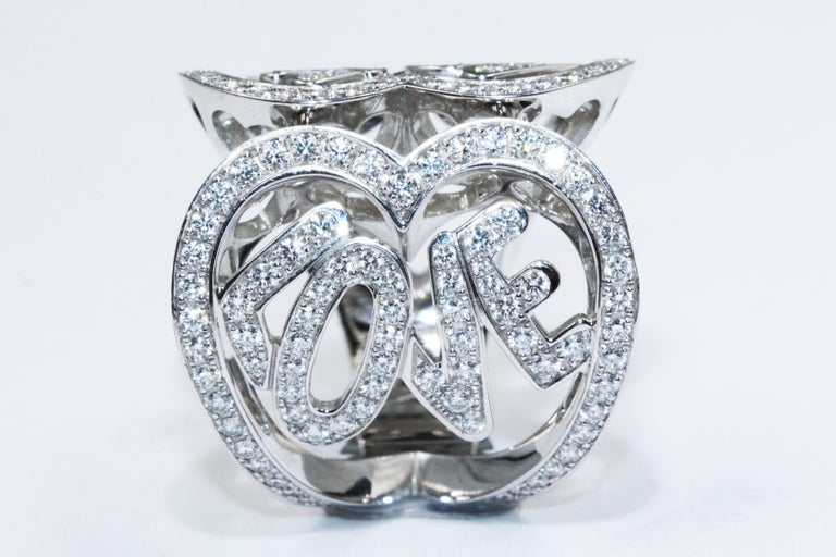 Chopard White Gold Diamonds Heart Ring For Sale 2
