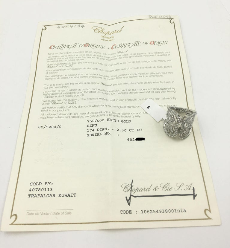 Chopard White Gold Diamonds Heart Ring For Sale 4