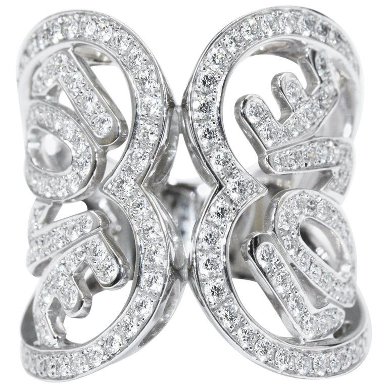 Chopard White Gold Diamonds Heart Ring For Sale