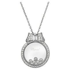 Chopard White Happy Diamonds 18 Karat Gold Floating Pendant 0.74 Carat Necklace