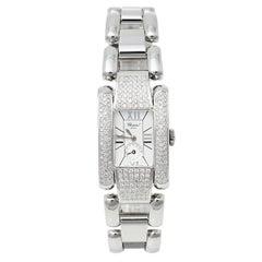 Chopard White Stainless Steel Diamond La Strada 8357 Women's Wristwatch 24 mm