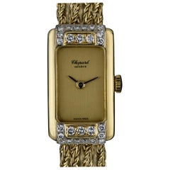 Chopard Yellow Gold Champagne Dial Diamond Bezel Vintage Cocktail 5132