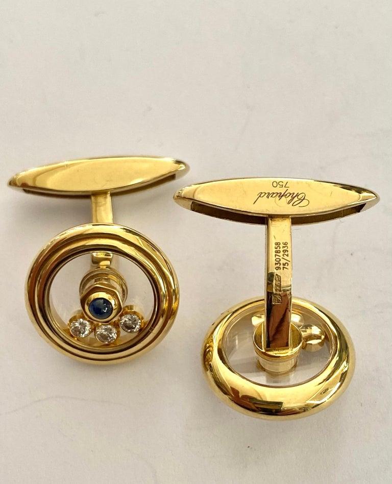Modernist Chopard, Yellow Gold Cufflinks, Happy Diamonds, Sapphire and Diamonds For Sale