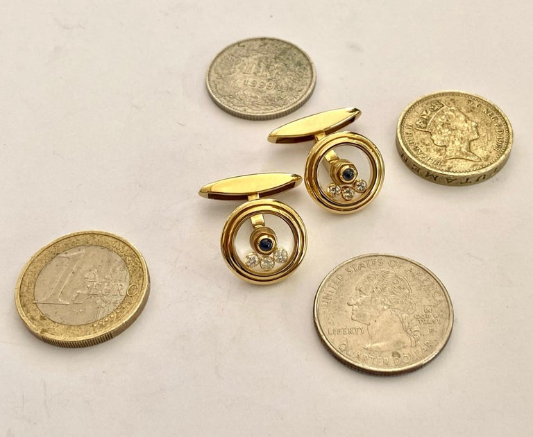 Brilliant Cut Chopard, Yellow Gold Cufflinks, Happy Diamonds, Sapphire and Diamonds For Sale