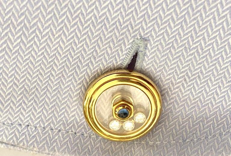 Women's or Men's Chopard, Yellow Gold Cufflinks, Happy Diamonds, Sapphire and Diamonds For Sale