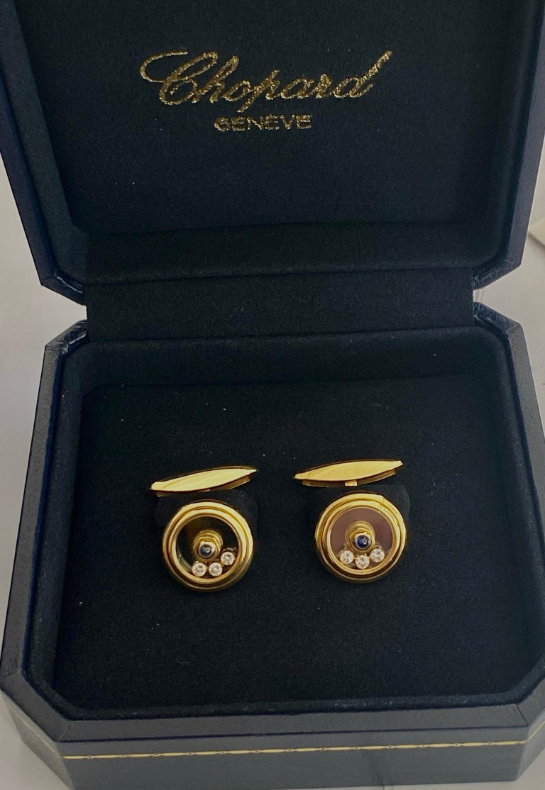 Chopard, Yellow Gold Cufflinks, Happy Diamonds, Sapphire and Diamonds For Sale 1