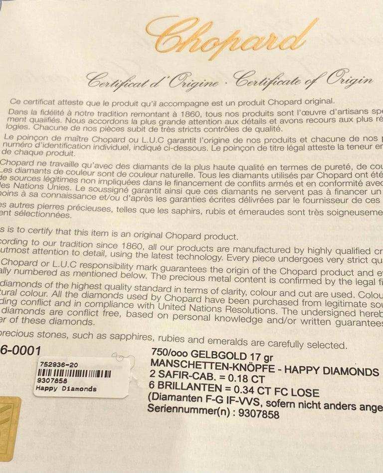 Chopard, Yellow Gold Cufflinks, Happy Diamonds, Sapphire and Diamonds For Sale 2