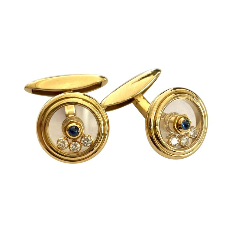 Chopard, Yellow Gold Cufflinks, Happy Diamonds, Sapphire and Diamonds For Sale