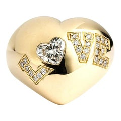 Chopard Yellow Gold Diamond Heart Love Ring