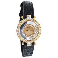 Chopard Yellow Gold Happy Diamonds Vintage Rounds and Baguettes Ladies Watch