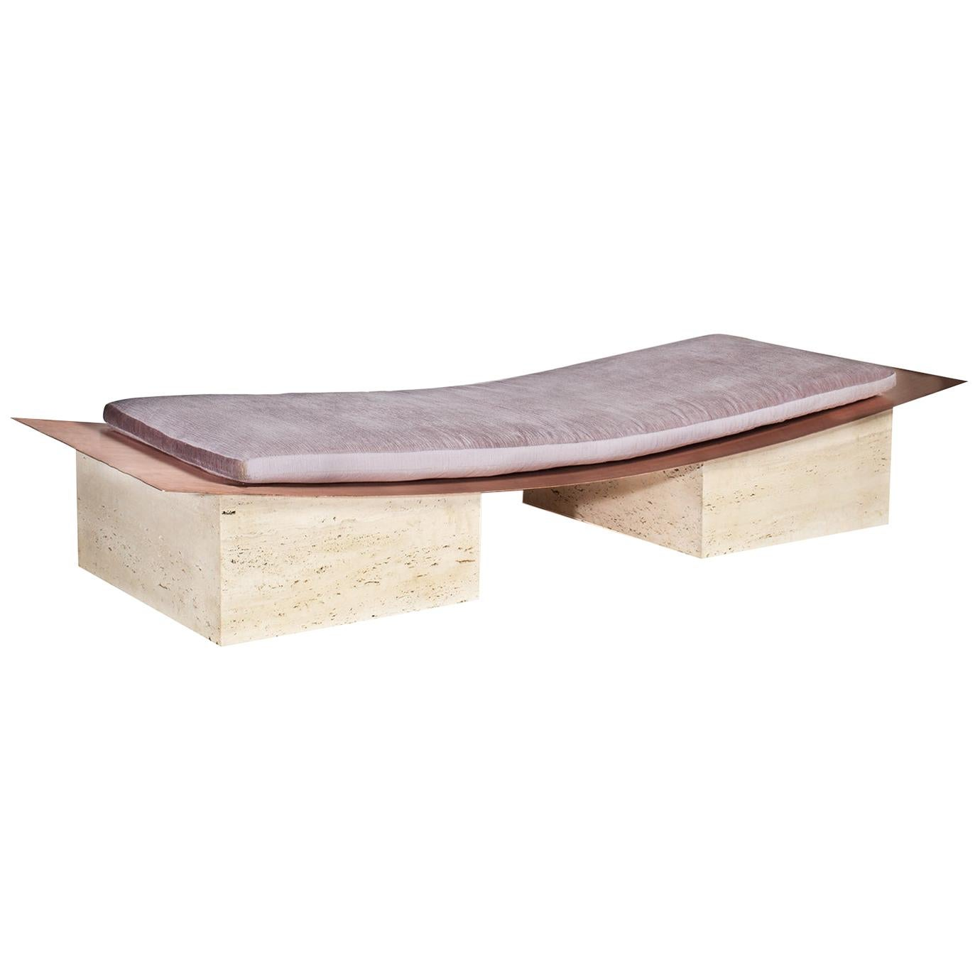 Chord, Contemporary Indoor/Outdoor Travertine and Copper Daybed by Laun