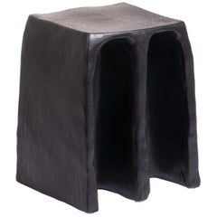 Chouchou Stool, European, Minimalist, Black Glaze, Ceramic, 20th Century
