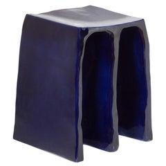 Chouchou Stool, European, Minimalist, Cobalt Glaze, Ceramic, 20th Century