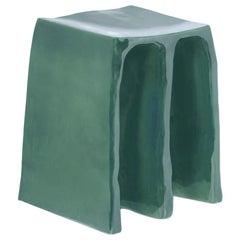 Chouchou Stool, European, Minimalist, Reseda Green Glaze, Ceramic, 20th Century
