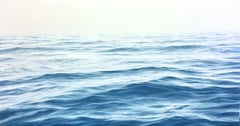"""Ananda 2, Highly Realistic Contemporary Water Ocean Painting in Blue and White"""