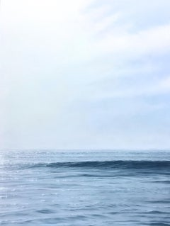"""Daybreak, Highly Realistic Contemporary Water Painting of Morning Ocean & Sky"""