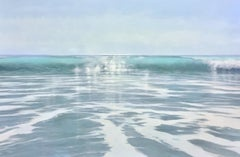 Greens, Highly Realistic Water (Ocean) Painting of Surf in Blue/Green and White
