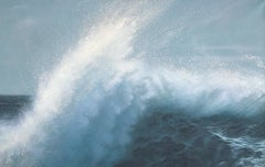 """Little Kiss, Realistic Ocean Painting with Breaking Wave in Blues and White"""