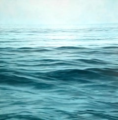 """Moksha, Realistic Contemporary Water (Ocean) Painting in Blue /Green and White"""