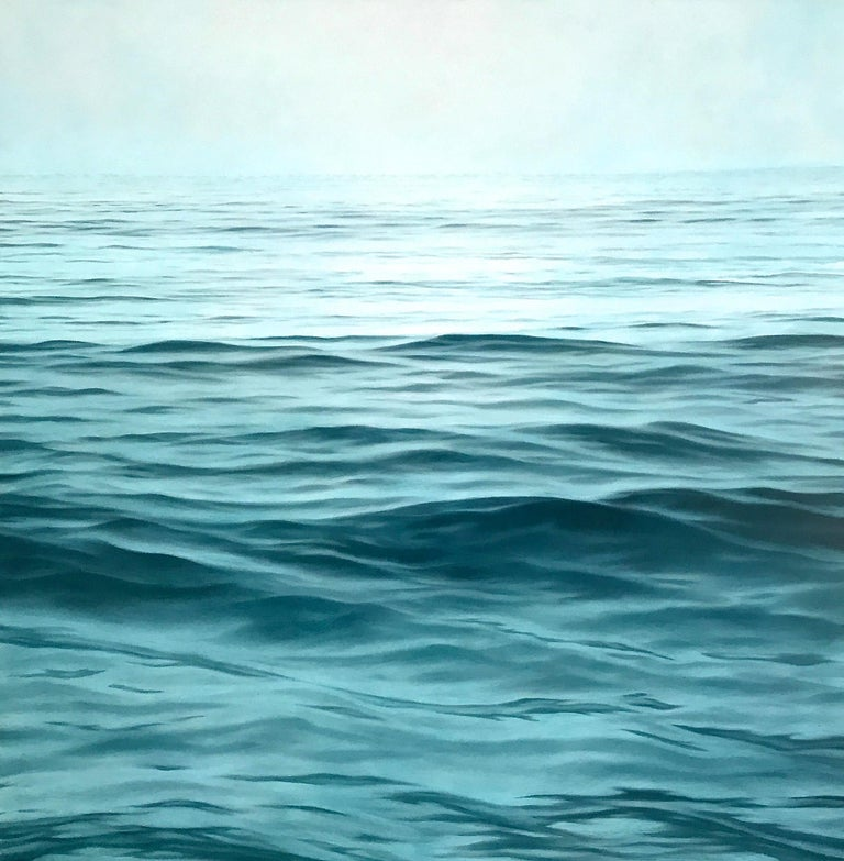 "Chris Armstrong Landscape Painting - ""Moksha, Realistic Contemporary Water (Ocean) Painting in Blue /Green and White"""