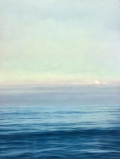 """Promise, Highly Realistic Contemporary Water (Ocean) Painting at Dusk"""
