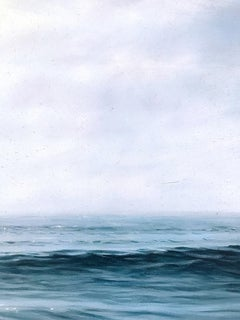 """Study for Daybreak,  Highly Realistic Water (Ocean) Painting in Blue and White"""