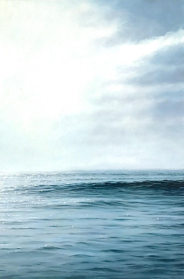 "Chris Armstrong Landscape Painting - ""Study for Daybreak,  Highly Realistic Water (Ocean) Painting in Blue and White"""