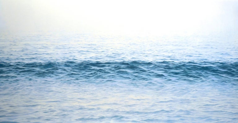 """Chris Armstrong Landscape Painting - """"Traverse, Highly Realistic Large Water (Ocean) Painting in Blue and White"""""""