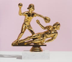 """Annunciation"" pop art painting of softball trophy in pink"