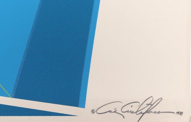 Blue Rectangles, SIlkscreen by Cris Cristofaro 1978 - Print by Chris Cristofaro