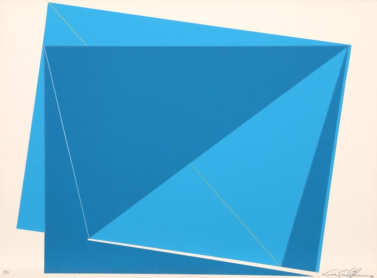 Chris Cristofaro Abstract Print - Blue Rectangles, SIlkscreen by Cris Cristofaro 1978