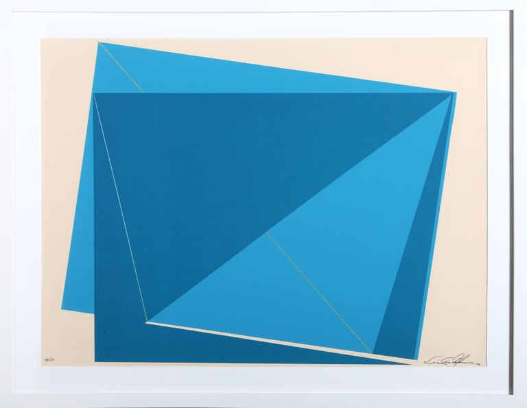 Chris Cristofaro Abstract Print - Untitled - Blue Rectangles
