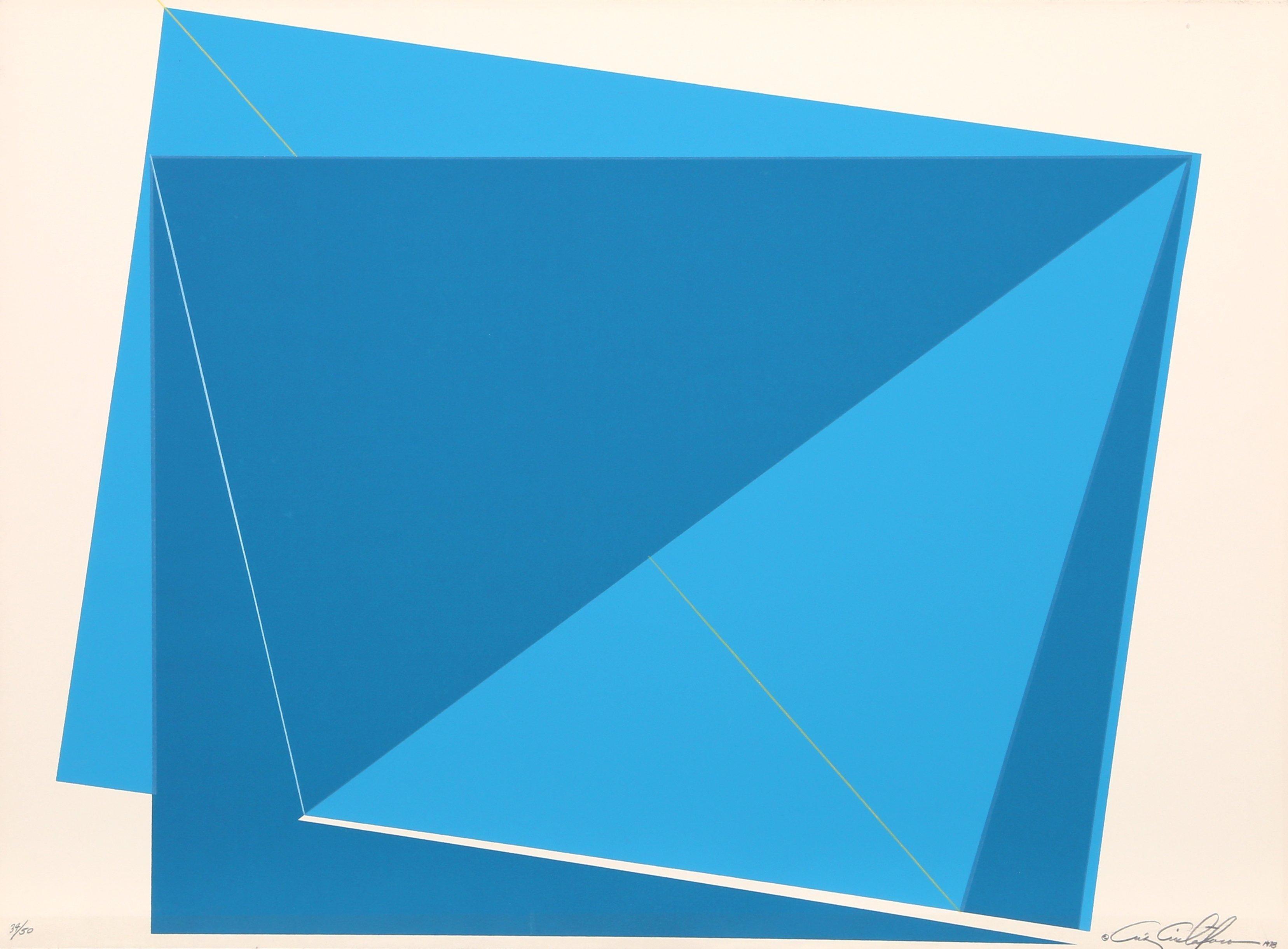 Blue Rectangles, Geometric Abstract Silkscreen by Cristofaro