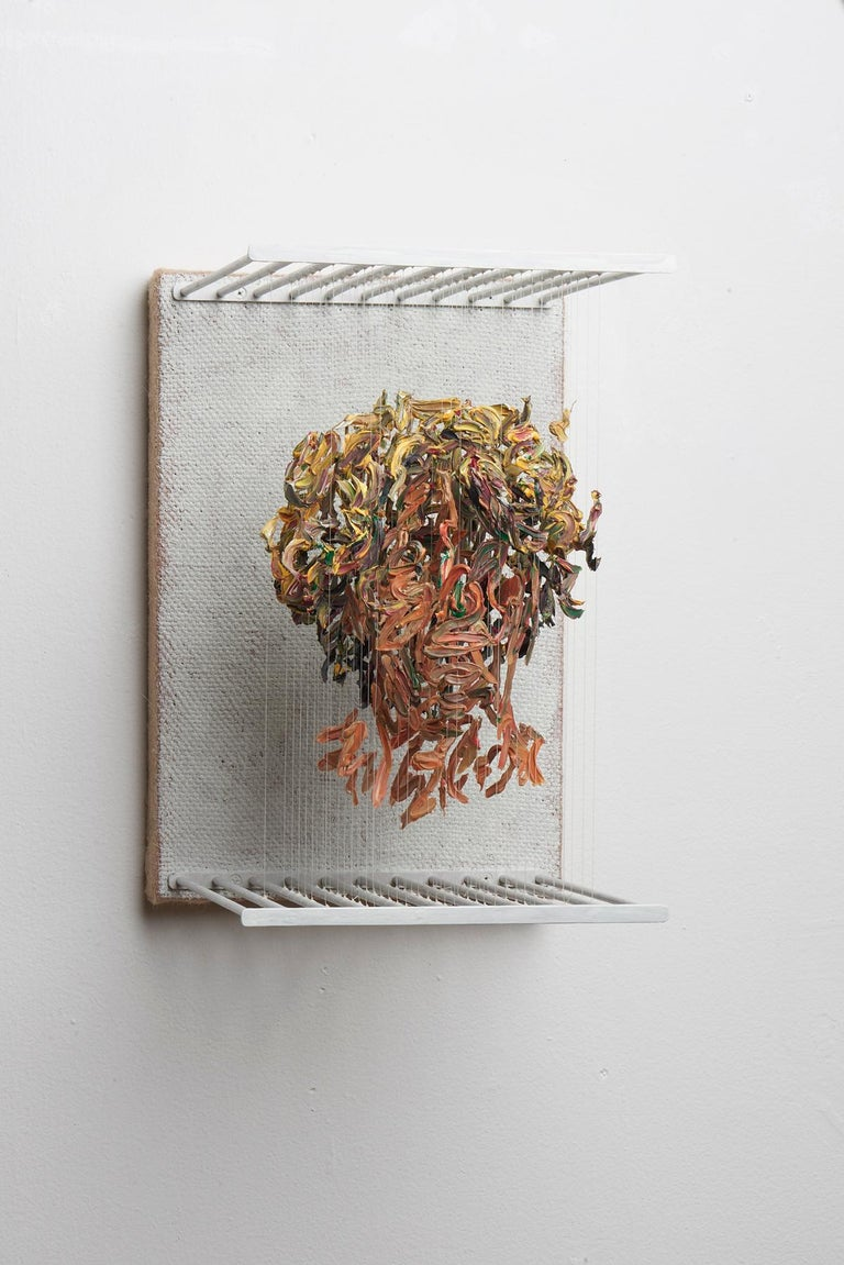 SOH - figurative portrait sculpture in 3D with suspended dried paint strokes - Painting by Chris Dorosz