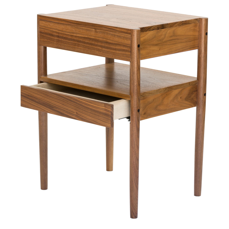 EARL Mid-Century Modern Walnut Bedside Table