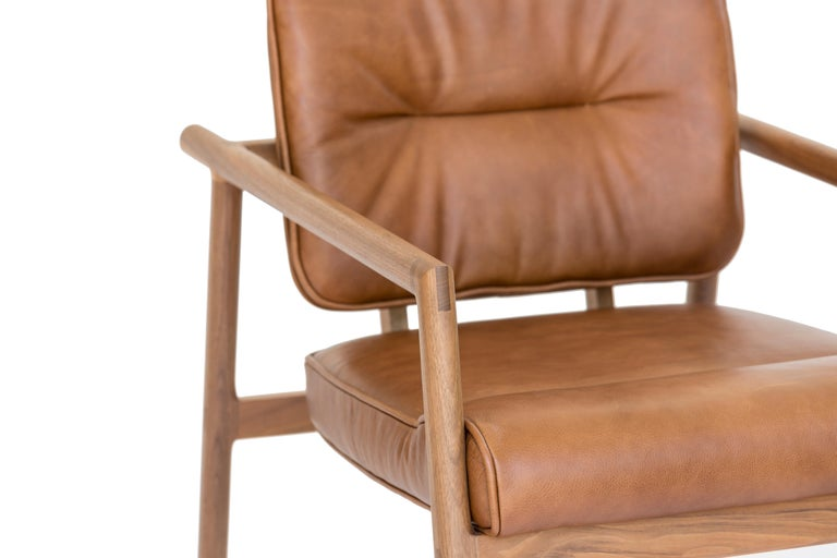 Mid-Century Modern Chris Earl Walnut, Camel Leather Moresby Armchair For Sale