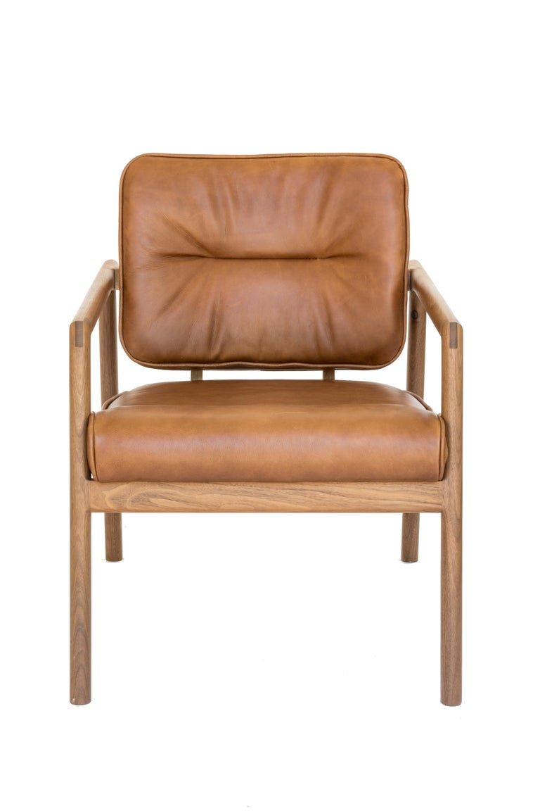 American Chris Earl Walnut, Camel Leather Moresby Armchair For Sale