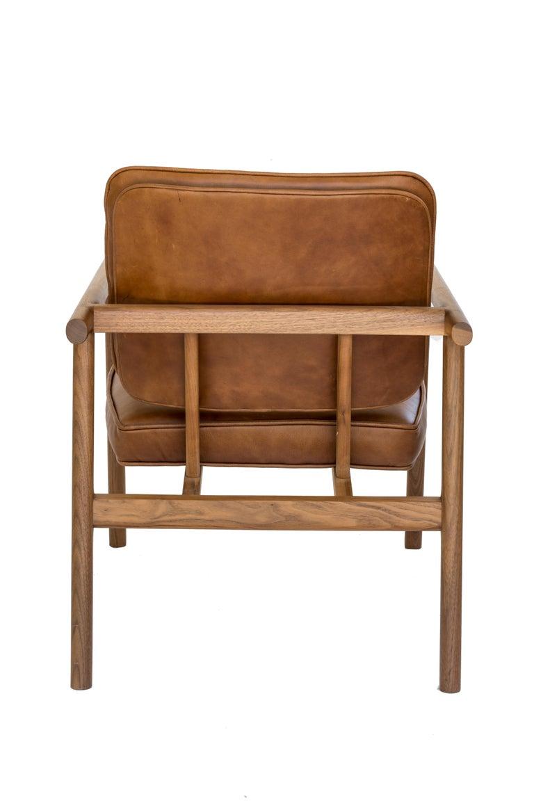 Ebonized Chris Earl Walnut, Camel Leather Moresby Armchair For Sale