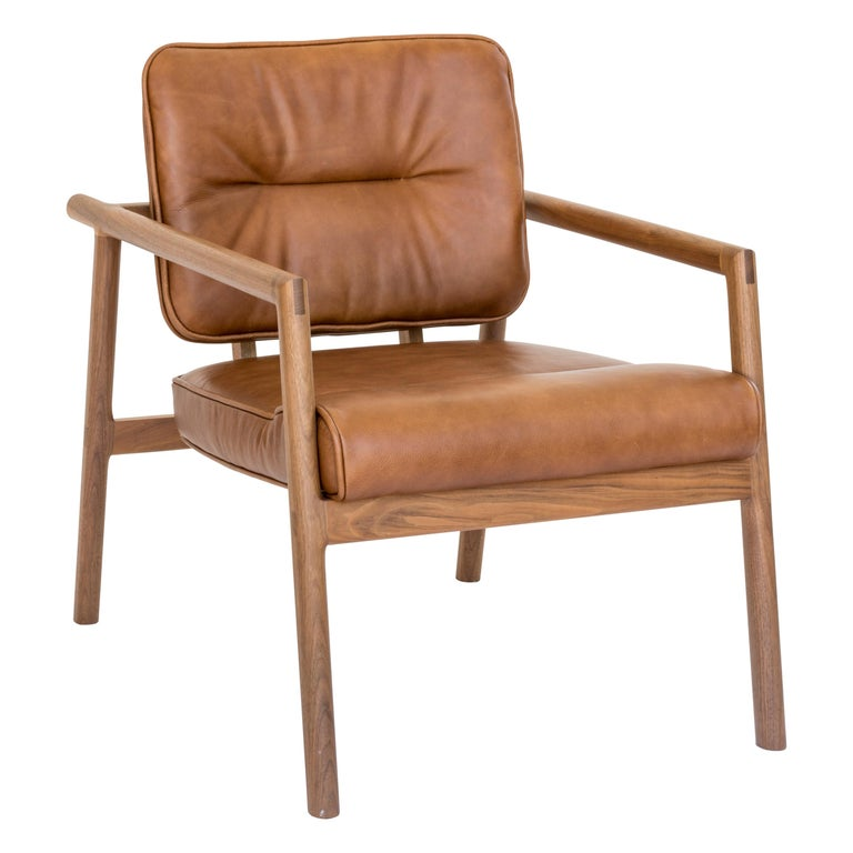 Chris Earl Walnut, Camel Leather Moresby Armchair For Sale