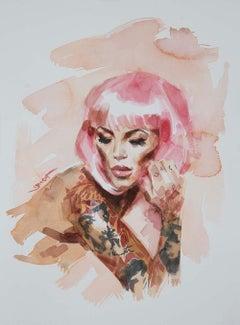 Pink Hair, watercolour, pin up, tattoo, modern, 21st century, portrait,