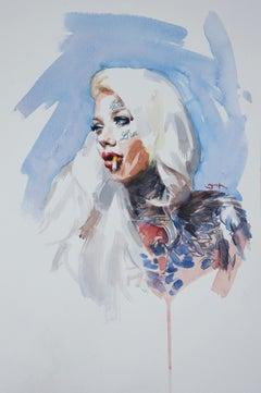 Smoking, watercolour, pin up, tattoo, modern, 21st century, portrait,