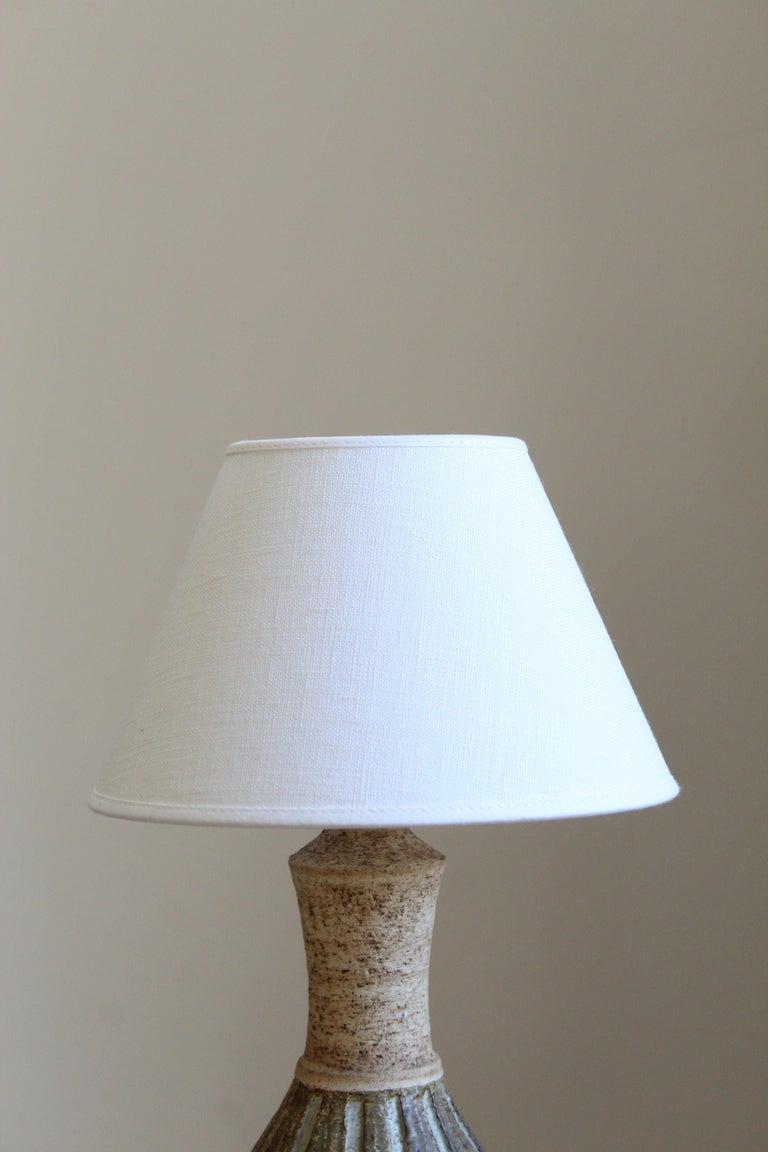 Mid-Century Modern Chris Haslev, Table Lamp, Stoneware, Linen, Denmark, 1960s For Sale