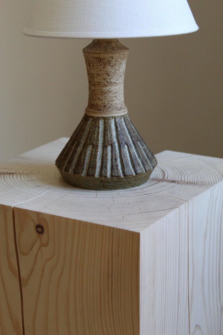 Danish Chris Haslev, Table Lamp, Stoneware, Linen, Denmark, 1960s For Sale