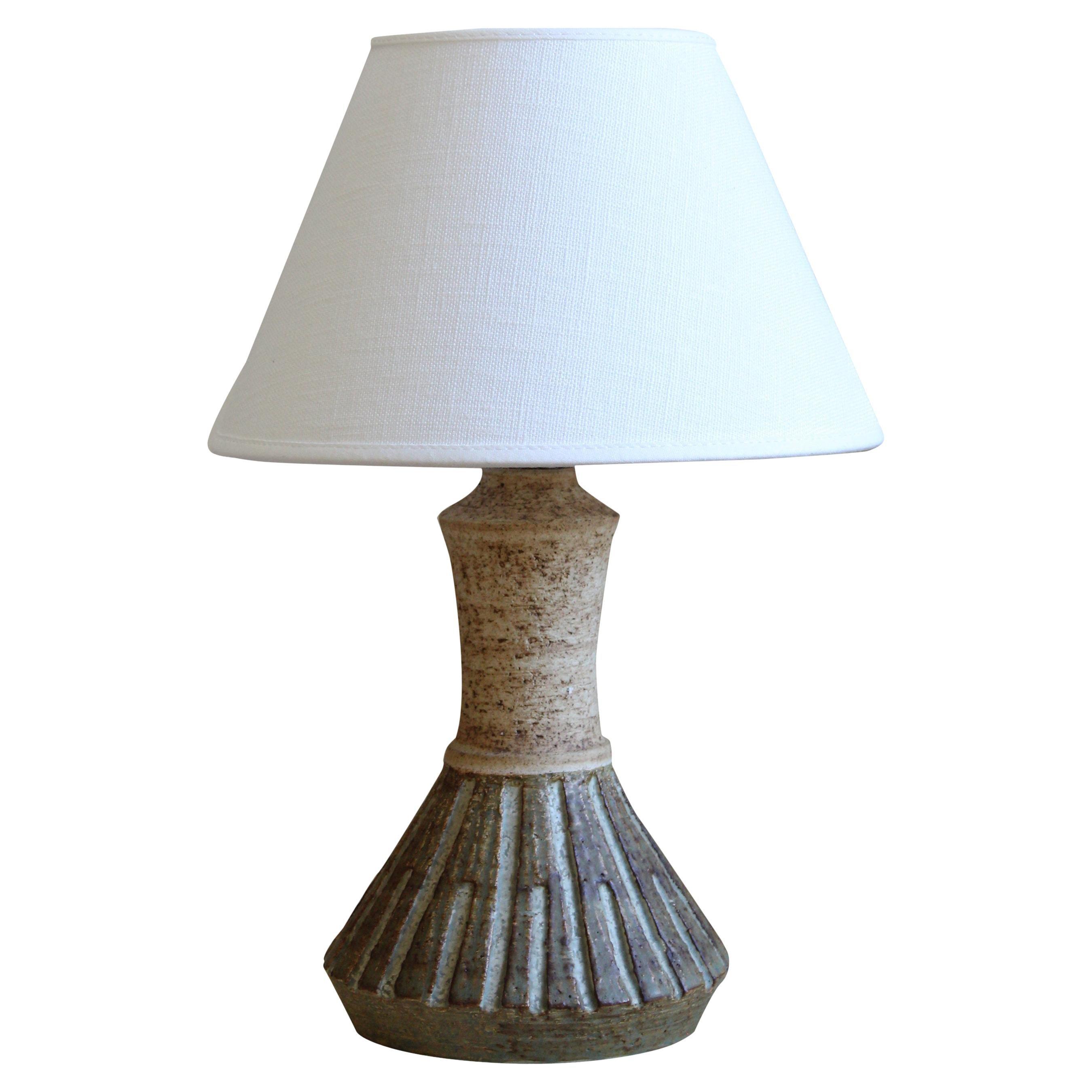 Chris Haslev, Table Lamp, Stoneware, Linen, Denmark, 1960s
