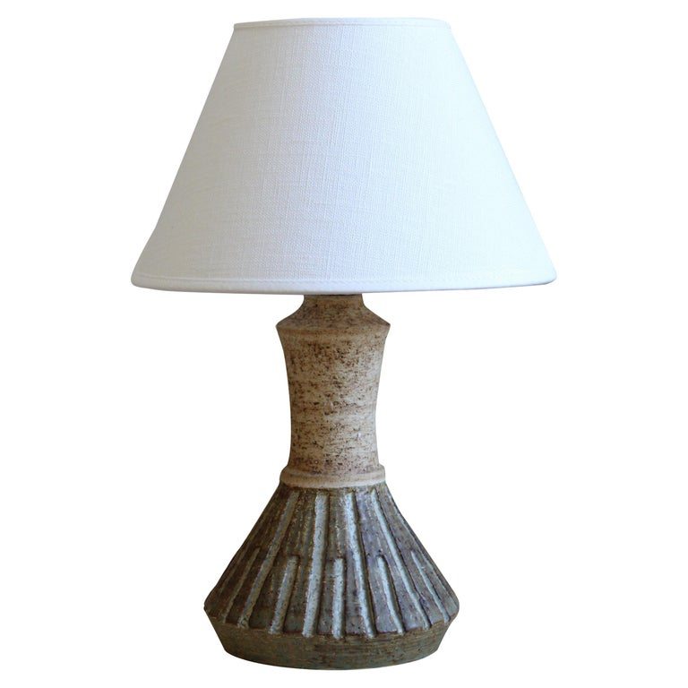 Chris Haslev, Table Lamp, Stoneware, Linen, Denmark, 1960s For Sale