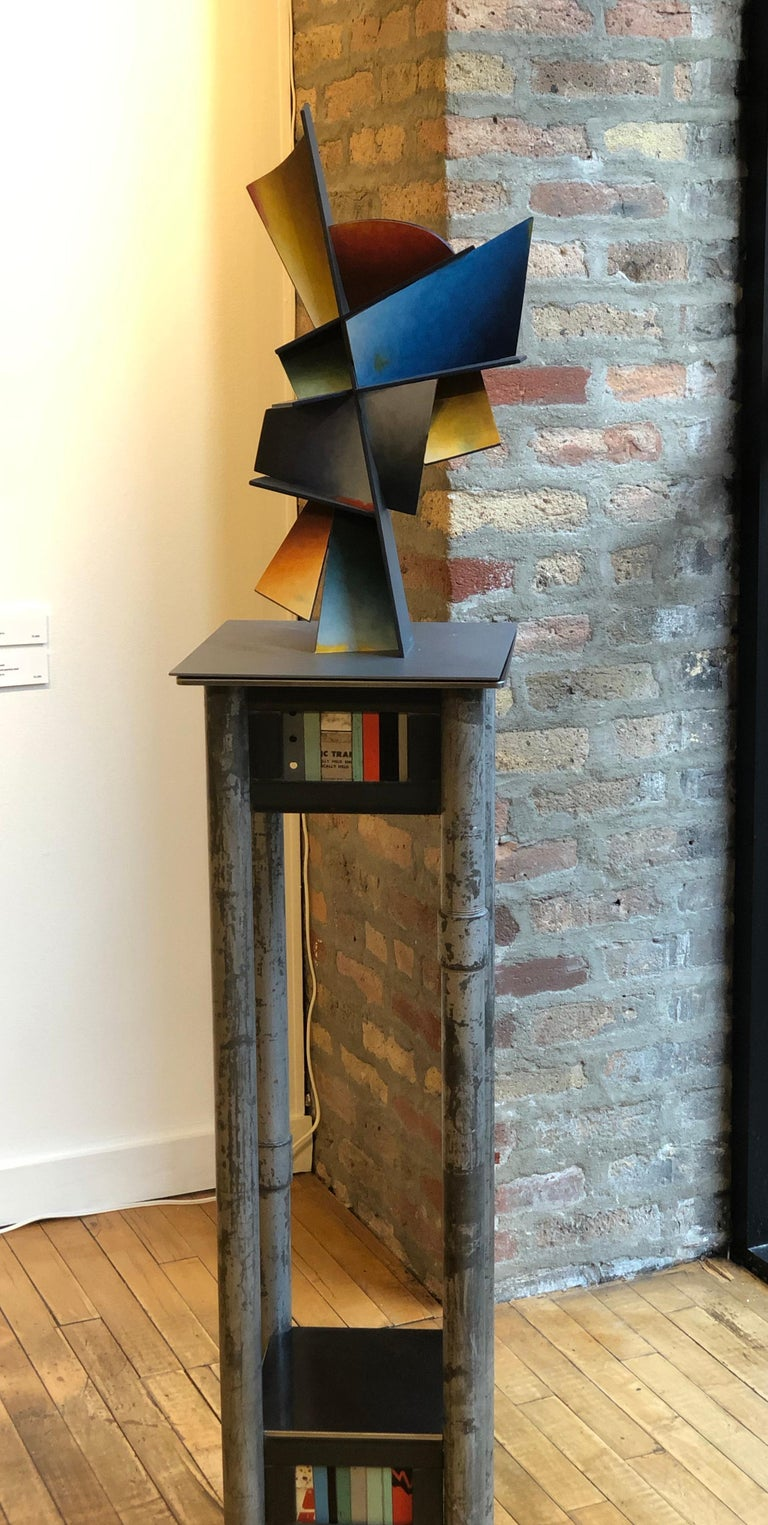 Hidden Hour - Hand Painted Welded Steel Sculpture Abstract Geometric Form - Gray Abstract Sculpture by Chris Hill