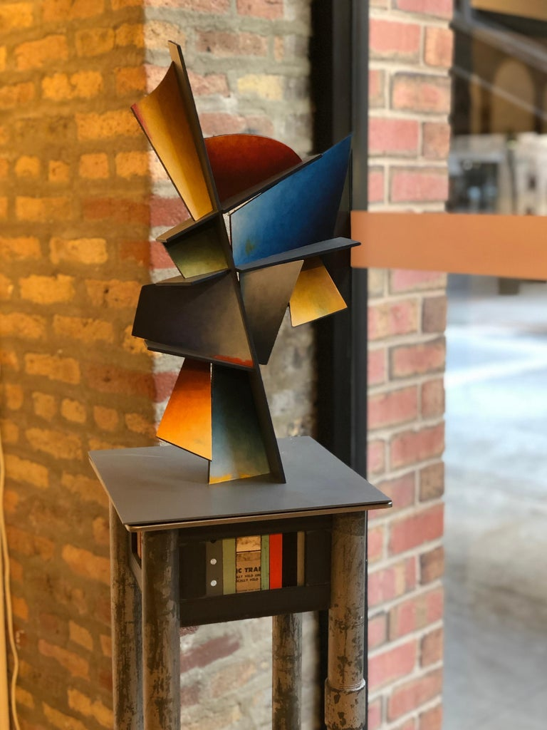 Hidden Hour - Hand Painted Welded Steel Sculpture Abstract Geometric Form For Sale 2