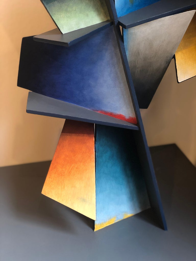 Hidden Hour - Hand Painted Welded Steel Sculpture Abstract Geometric Form For Sale 3
