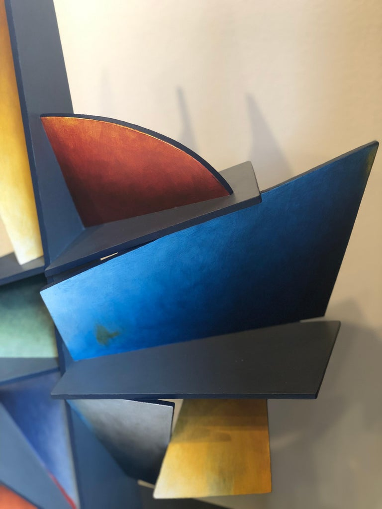 Hidden Hour - Hand Painted Welded Steel Sculpture Abstract Geometric Form For Sale 4